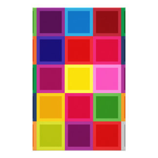 Multi Colored Squares and Stripes Girly Stationery