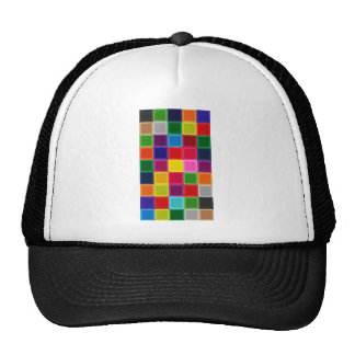 Multi Colored Squares and Stripes Girly Trucker Hat