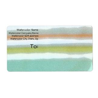 Multi-colored stripes, film grain, watercolor shipping label