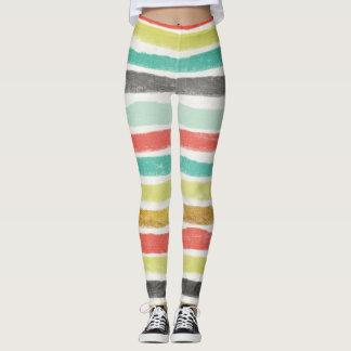 Multi-colored stripes in muted jewel tones leggings