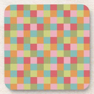 Multi Colored Tiles Quilt Squares Colorful Plaid Drink Coaster