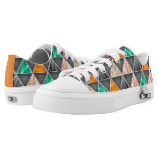 Multi-colored Triangles Low-Top Sneakers