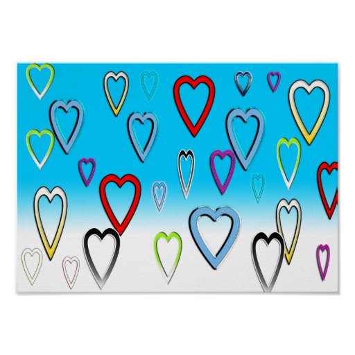 Multi-colored Valentines Hearts on Blue Print