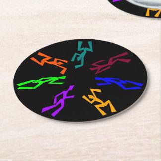 Multi Colored Wacky Dancers Round Paper Coaster