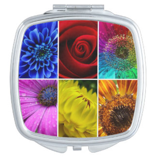 Multi Colorful Floral Botanical Flower Compact Mirrors