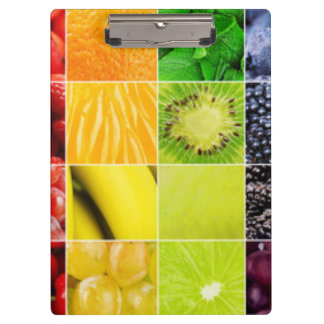 Multi Colorful  Fruit Collage Clipboard