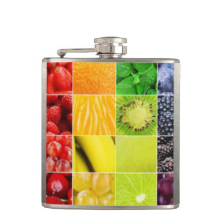 Multi Colorful  Fruit Collage Hip Flask