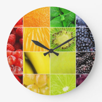 Multi Colorful  Fruit Collage Large Clock