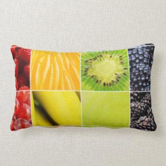 Multi Colorful  Fruit Collage Lumbar Pillow