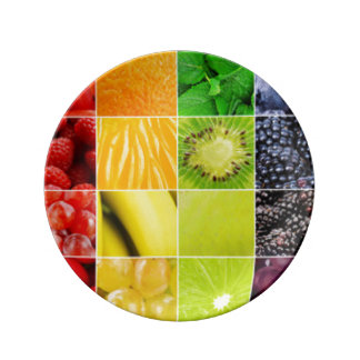 Multi Colorful  Fruit Collage Plate