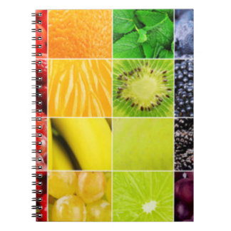 Multi Colorful  Fruit Collage Spiral Notebook