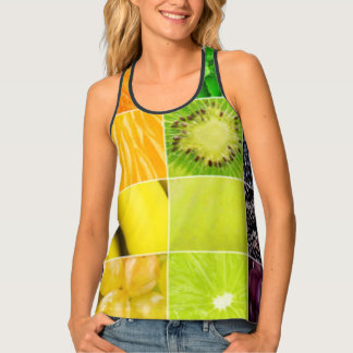 Multi Colorful  Fruit Collage Tank Top