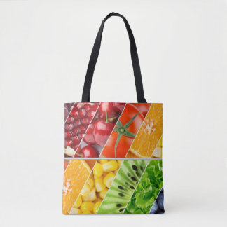 Multi Colorful Fruit Design Collage Tote Bag