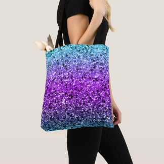 Multi Colors Faux Glitter Texture Tote Bag