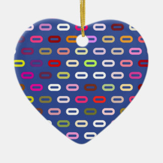 Multi Colors Ovals. Links On Cerulean Blue Pattern Christmas Ornament
