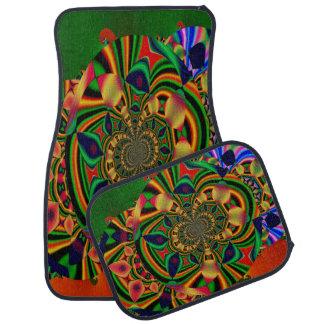Multi-Colour Abstract Decorative Set of 4 Car Mats