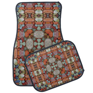 Multi-Colour Artistic Abstract Set of 4 Car Mats