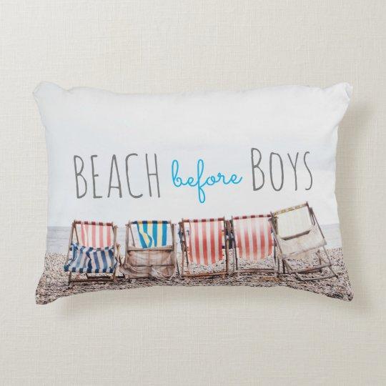 Multi Colour Beach Chair Cotton Throw Pillow