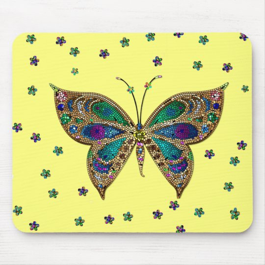 Multi-Colour Butterfly and Stars Yellow Mousepad