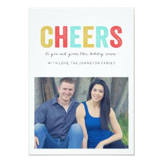 "Multi Colour Cheers Christmas Photo Flat Cards 5"" X 7"" Invitation Card"