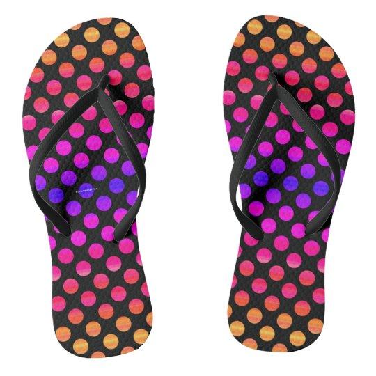 Multi-colour Dots Flip Flops