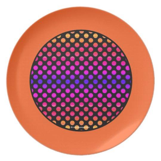 Multi-colour Dots Orange Border Plate