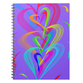 Multi Colour Heart Doodle on Purple Background Spiral Notebook