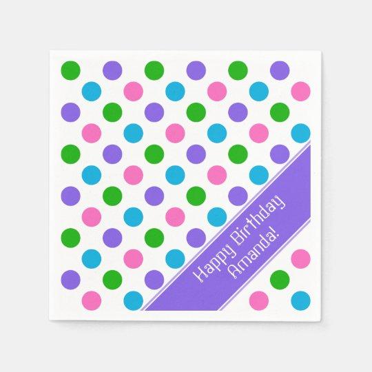 Multi Colour Polka Dots | Personalized Napkin
