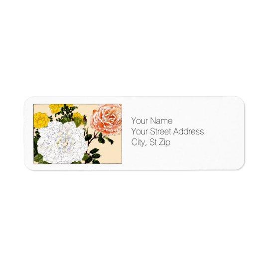 Multi-colour Rose, Botanical Art Return Address Label