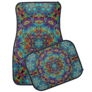 Multi-Colour Stained Glass Design Set of 4 Car Car Mat