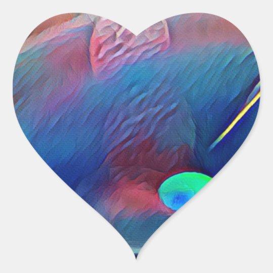 Multi+Colour Universe Abstract Alien Worlds Heart Sticker