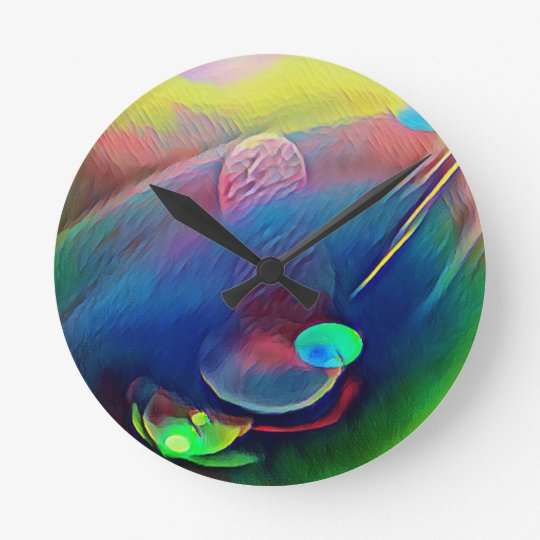 Multi+Colour Universe Abstract Alien Worlds Round Clock