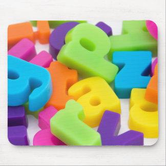 multi coloured alphabet letters background mouse m mouse pad