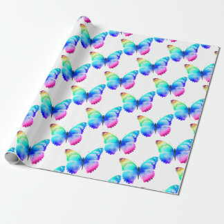 Multi coloured butterfly wrapping paper