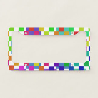 Multi Coloured Checks License Plate Frame