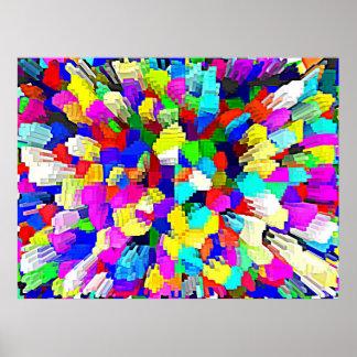 Multi-Coloured Crystalline Block Pattern Print