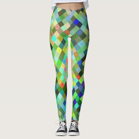 Multi-coloured Diamond Pattern Leggings
