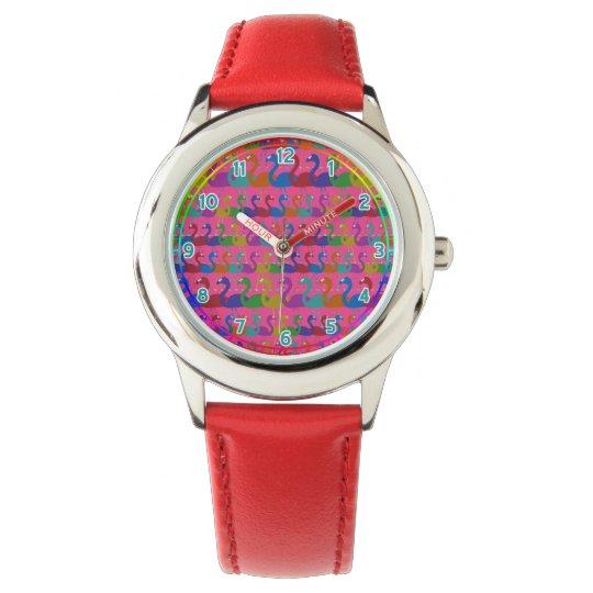 Multi-Coloured Flamingo Wrist Watch