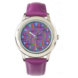 Multi-Coloured Flamingo Wrist Watch with Hearts