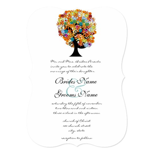 "Multi Coloured Flower  Love Tree Wedding 5"" X 7"" Invitation Card"