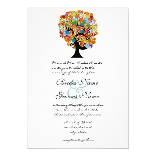 Multi Coloured Flower  Love Tree Wedding Invitatio Invite