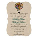 Multi Coloured Flower  Love Tree Wedding Custom Invite