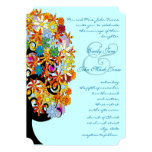 Multi Coloured Flower  Love Tree Wedding Personalized Invitation