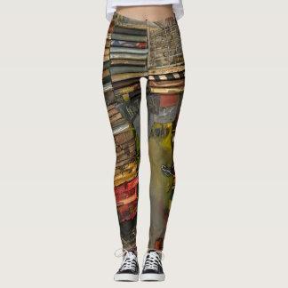 multi-coloured, industrial look, contemporary leggings