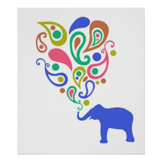 Multi-Coloured Paisley Elephant Pattern Design Poster