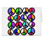 Multi-coloured Peace Symbols Cards