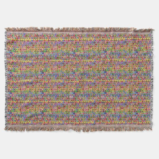 multi-coloured peace symbols pattern throw blanket