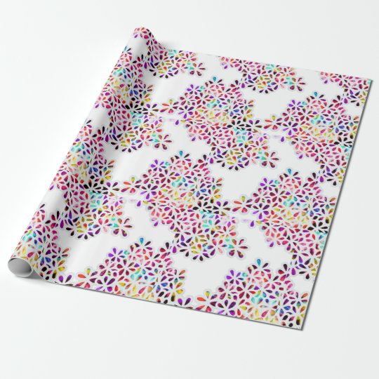 Multi-Coloured Petal Flowers Pattern Wrapping Paper