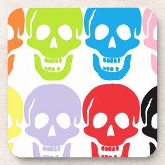 multi coloured skulls beverage coaster