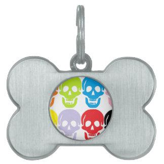 multi coloured skulls pet tags